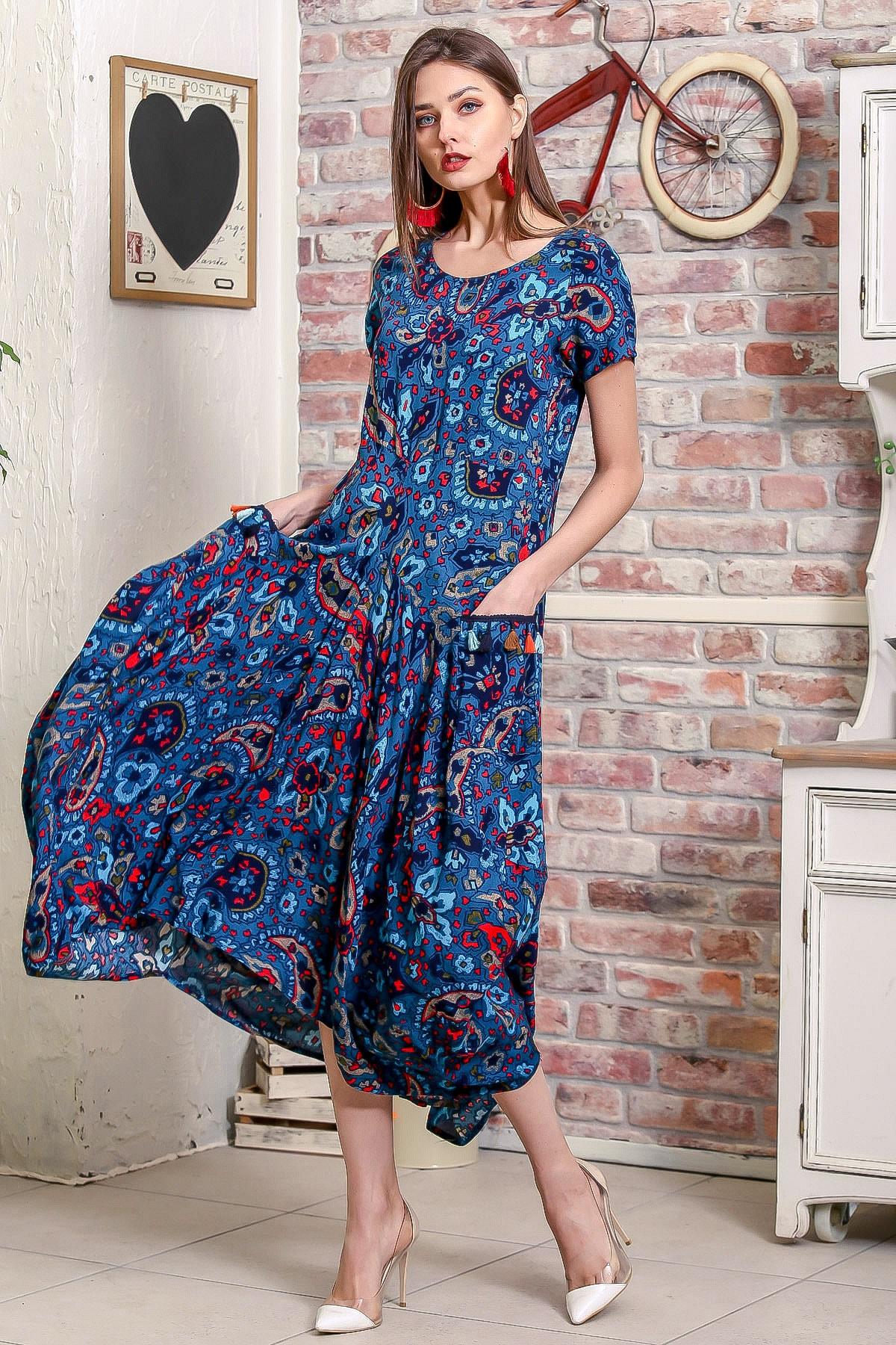 Chiccy Kadın Petrol Mavi Bohem Şal Desen Asimetrik Cepleri Püskül Detaylı Dokuma Elbise 2