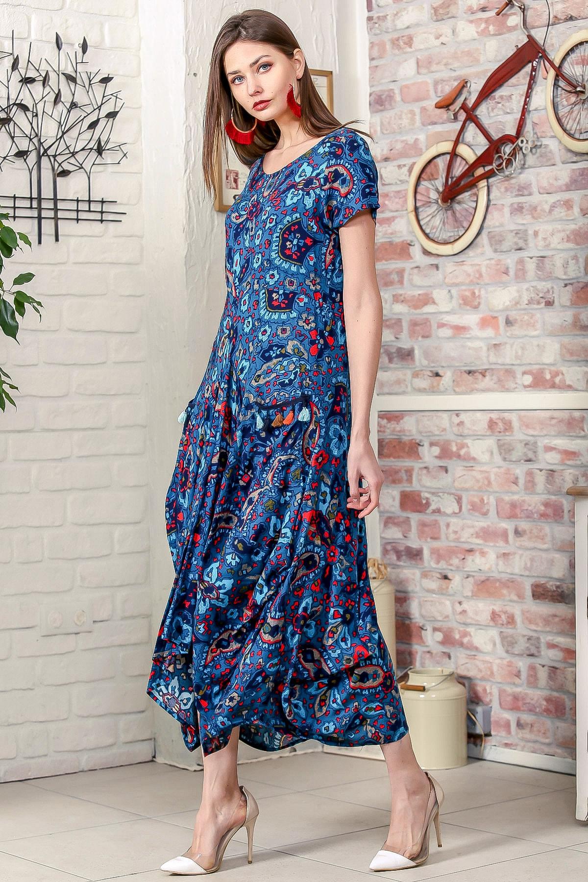 Chiccy Kadın Petrol Mavi Bohem Şal Desen Asimetrik Cepleri Püskül Detaylı Dokuma Elbise 3