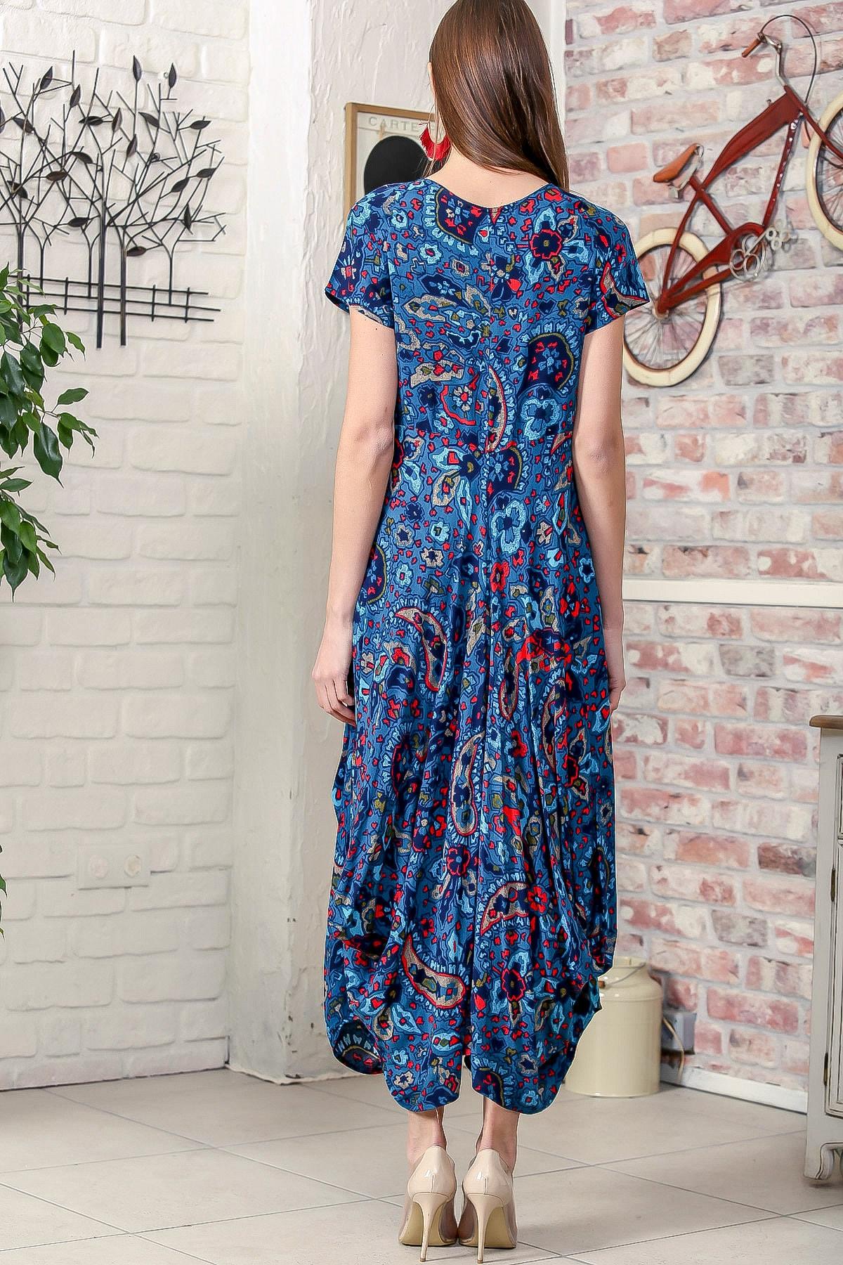 Chiccy Kadın Petrol Mavi Bohem Şal Desen Asimetrik Cepleri Püskül Detaylı Dokuma Elbise 4