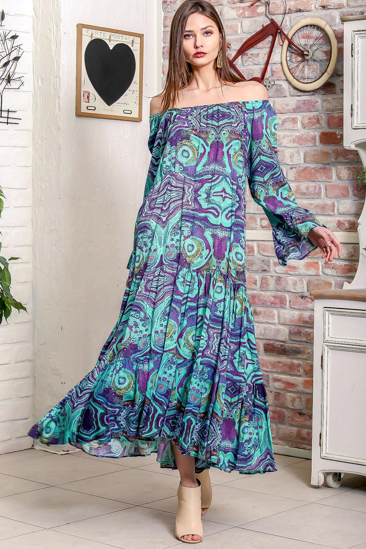 Chiccy Kadın Yeşil Carmen Yaka Sulu Boya Desenli Kol Ucu Volanlı Salaş Dokuma Elbise M10160000EL95906 2