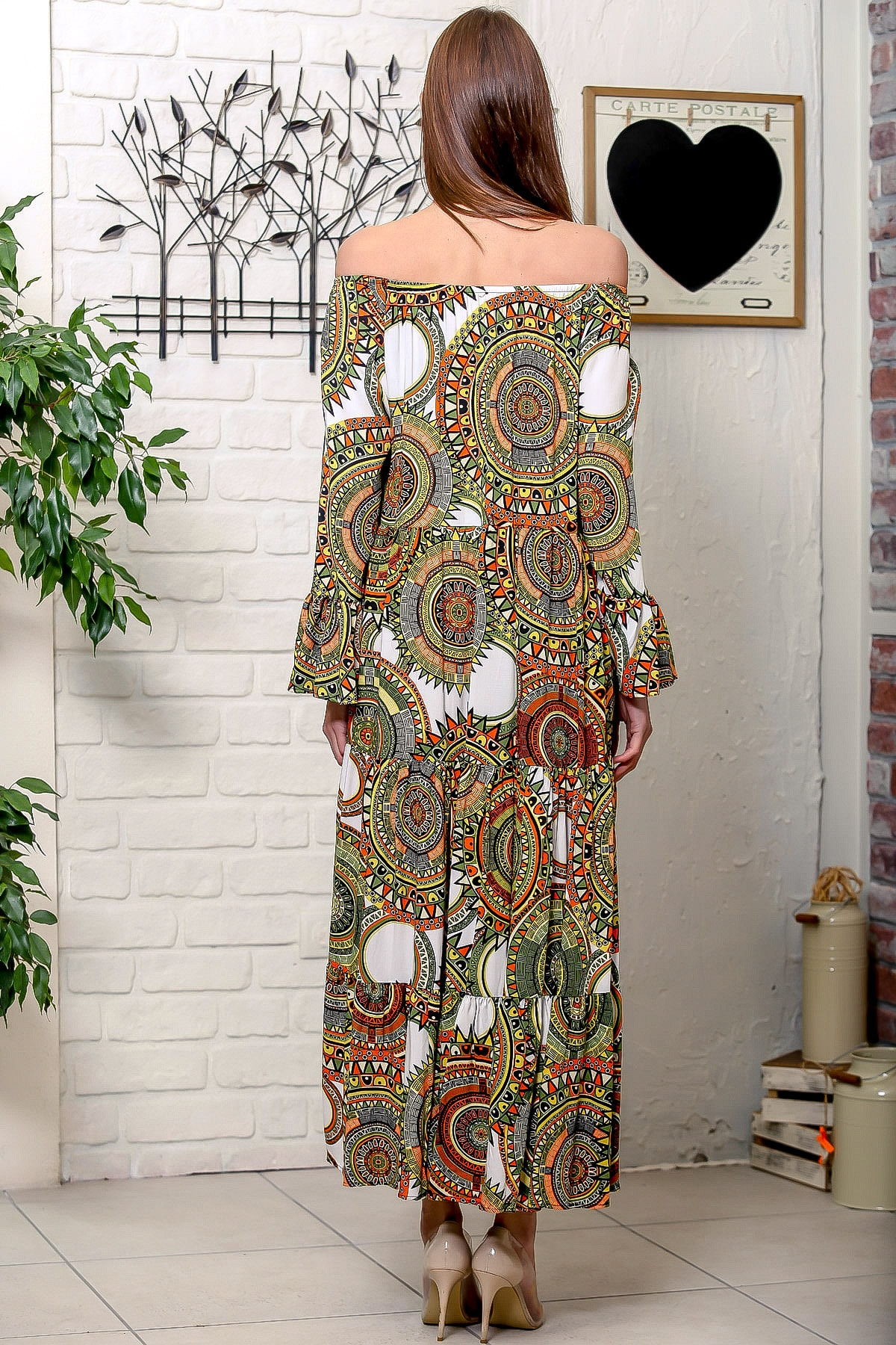Chiccy Kadın Yeşil-Beyaz Carmen Yaka Geometrik Desenli Kol Ucu Volanlı Salaş Dokuma Elbise M10160000EL95906 4