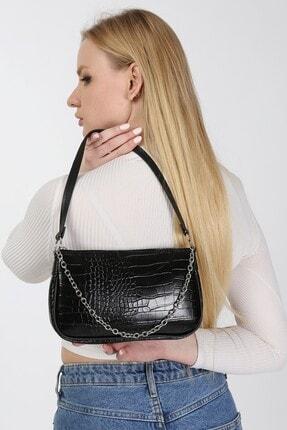 meyoubags Kadın Siyah Kroko Desen Baget Askılı Zincirli Omuz Çantası 0