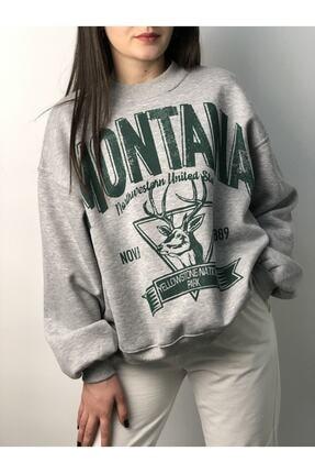 Butik Nays Kadın Gri Montana Baskılı Sweatshirt 0