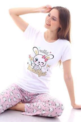 Moda Hitap Kadın Beyaz Tavşan Baskılı Pembe Kedili Pijama Takımı 0