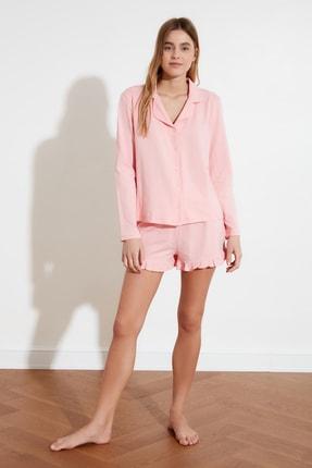 TRENDYOLMİLLA Pudra Fırfır Detaylı Örme Pijama Takımı THMAW21PT0138 2