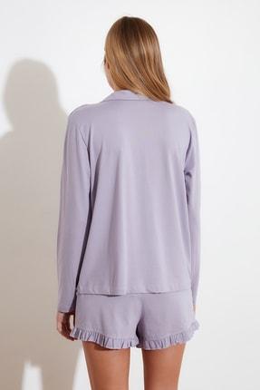 TRENDYOLMİLLA Lila Fırfır Detaylı Örme Pijama Takımı THMAW21PT0138 4