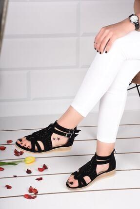 mihra home Kadın Siyah Süet Fermuarlı Sandalet Terlik 2