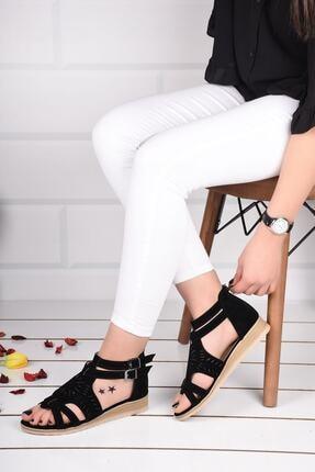 mihra home Kadın Siyah Süet Fermuarlı Sandalet Terlik 3