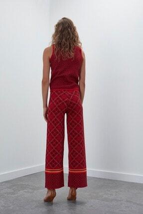 Join Us Kadın Kırmızı Multi Desenli Kolsuz Simli Triko Bluz 3