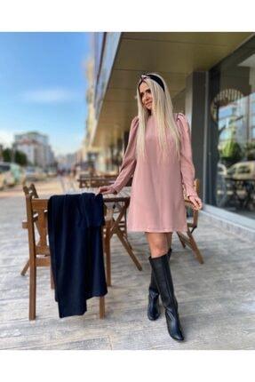 Kadın Pembe Diz Üstü Elbise 42