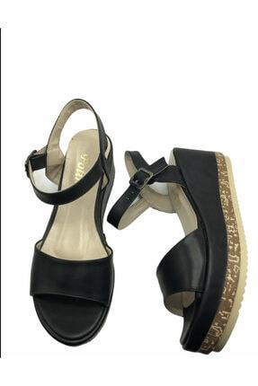 Polin Kadın Siyah Deri Kemer Model Dolgu Ayakkabı 0
