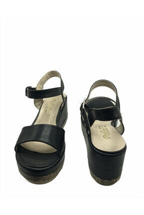 Polin Kadın Siyah Deri Kemer Model Dolgu Ayakkabı 2