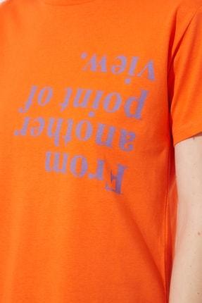 TRENDYOLMİLLA Turuncu Semi-Fitted Baskılı Örme T-Shirt TWOSS20TS0572 3