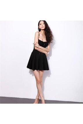 lovebox Kadın Siyah Esnek Kumaş Önden Bağcık Detaylı Askılı Kiloş Elbise 1