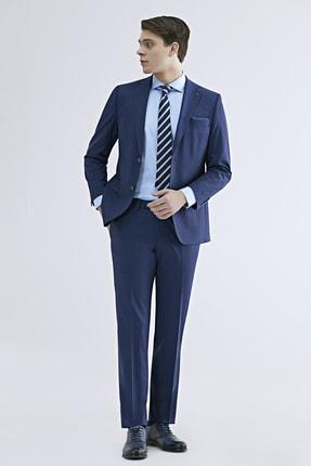 تصویر از Comfort Fit Saks Mavi Düz Travel Takım Elbise