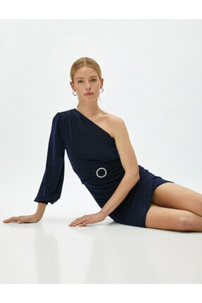 Koton Kadın Tek Omuz Elbise Abiye Metalik Kemer Detayli Kisa 0