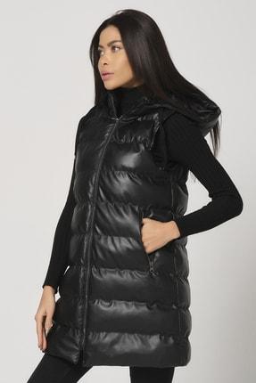 PIQUE Kadın Siyah Kapüşonlu Uzun Suni Deri Şişme Yelek Pera Kadın Şişme Uzun Yelek 2