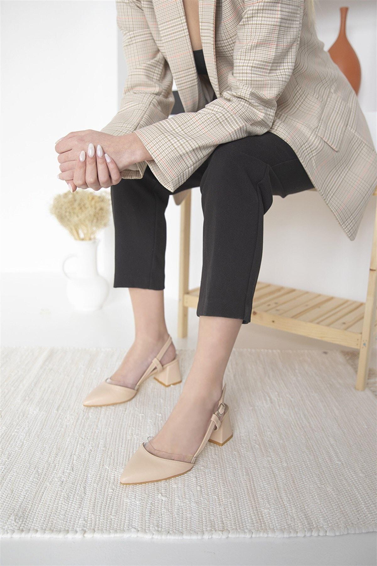 Roy Bayan Deri Topuklu Ayakkabı Ten