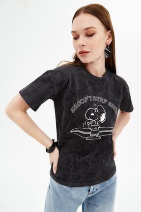 Pattaya Kadın Siyah Snoop'y Baskılı Kısa Kollu Örme T-Shirt P21s201-2097 1
