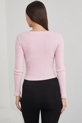 dcollection Kadın Pembe V Yaka Crop Top Bluz 3