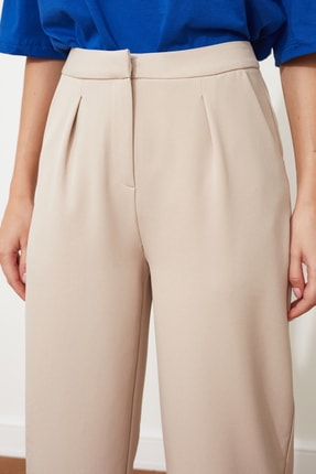 TRENDYOLMİLLA Taş Düz Kesim Pileli Pantolon TWOSS21PL0155 3
