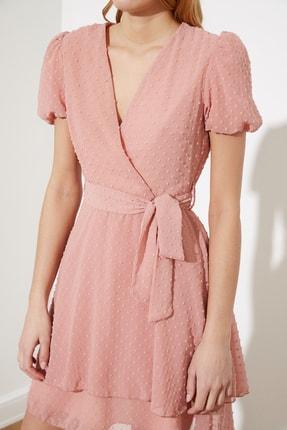 TRENDYOLMİLLA Gül Kurusu Kuşaklı Dokulu Kumaşlı Elbise TWOSS21EL1202 1