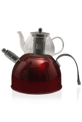 Paçi Düz Renk Düdüklü Çelik Cam Çaydanlık Takımı Kırmızı 0