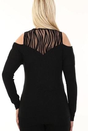 Şirin Butik Kadın Siyah Omuz Detaylı Büyük Beden Viskon Bluz 3