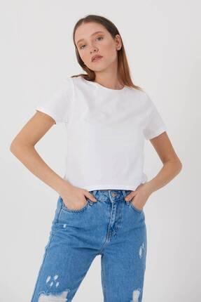 Addax Kadın Beyaz Kısa Kollu Basic T-Shirt P0750 - X3 Adx-0000020815 1