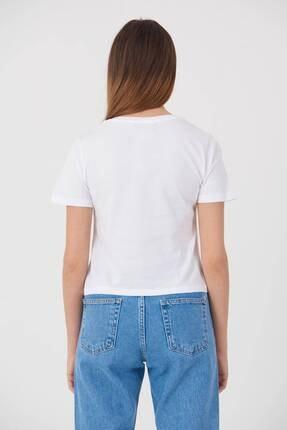 Addax Kadın Beyaz Kısa Kollu Basic T-Shirt P0750 - X3 Adx-0000020815 3