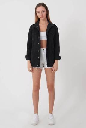 Addax Kadın Siyah Uzun Boyfriend Ceket C6301 - A10 ADX-00008194 2