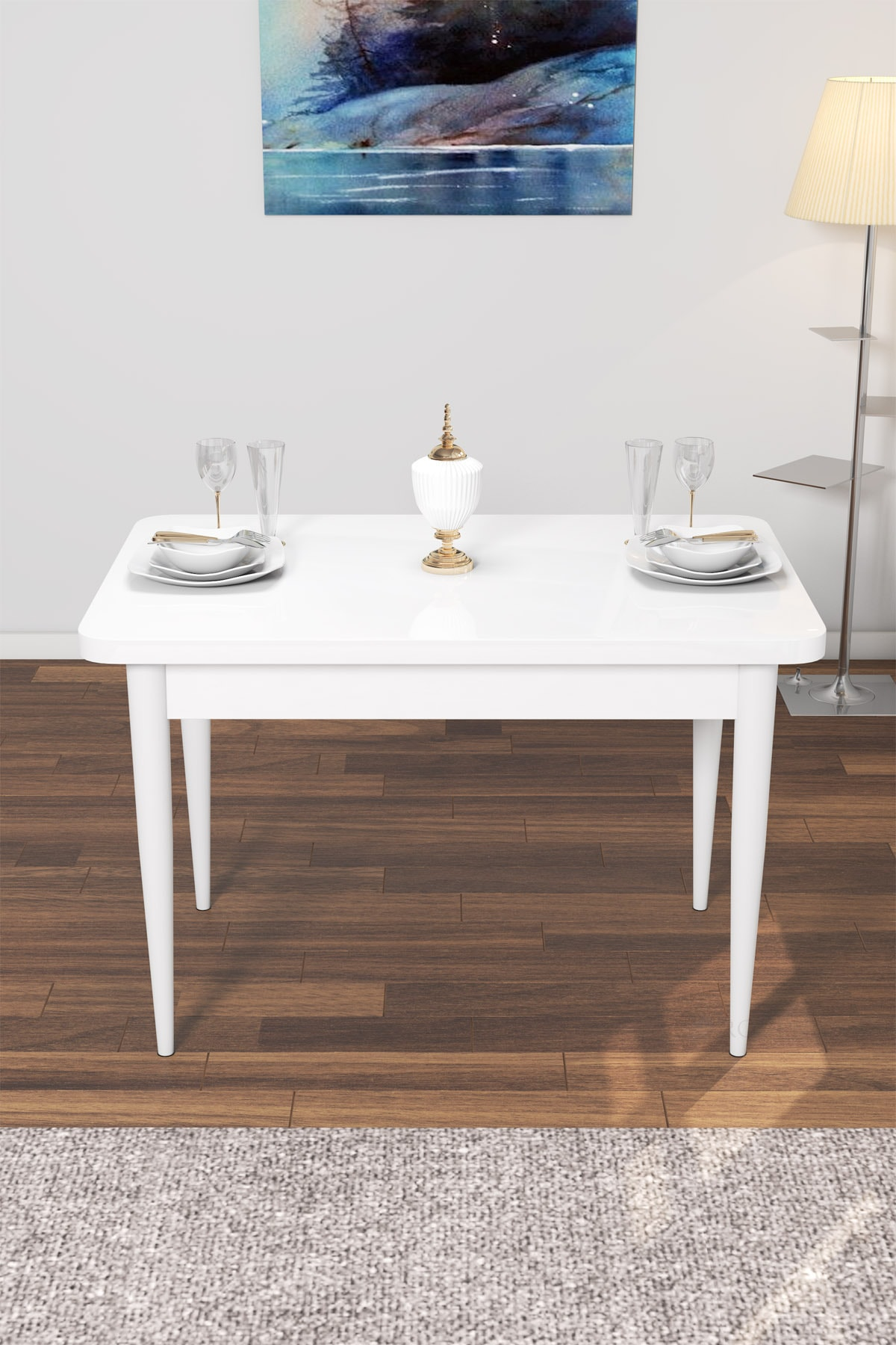 Beyaz Lera Serisi Ahşap Ayaklı Mutfak Masası