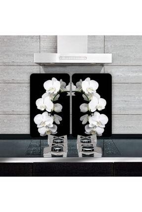 Saban Dekoratif Cam Ocak Koruyucu ve Kesim Tahtası Beyaz Orkide 60cm X 52cm 2 Parça, 4'lü Ocaklar 0