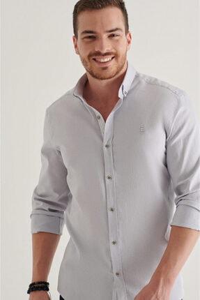 Avva Erkek Gri Düz Düğmeli Yaka Regular Fit Gömlek A11y2026 1