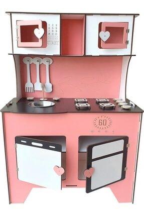 WoodyLife 104 Cm Çocuk Odası Ahşap Mutfak Montessori Oyuncak Dolabı Pembe Zeytindalı Oyunevi Kutu 2