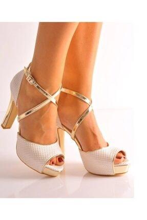 Beyaz Inci Ayna Abiye Topuklu Ayakkabı 101BB