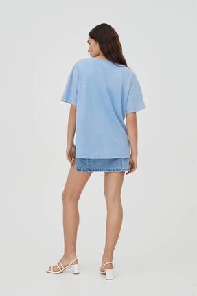 Pull & Bear Soluk Efektli Mavi Kolej T-shirt 3