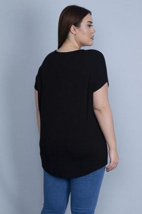 Şans Kadın Siyah Nakış Detaylı Düşük Kollu Viskon Bluz 65N23134 2