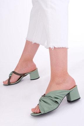 Marjin Kadın Yeşil Topuklu Terlik Tivan 2