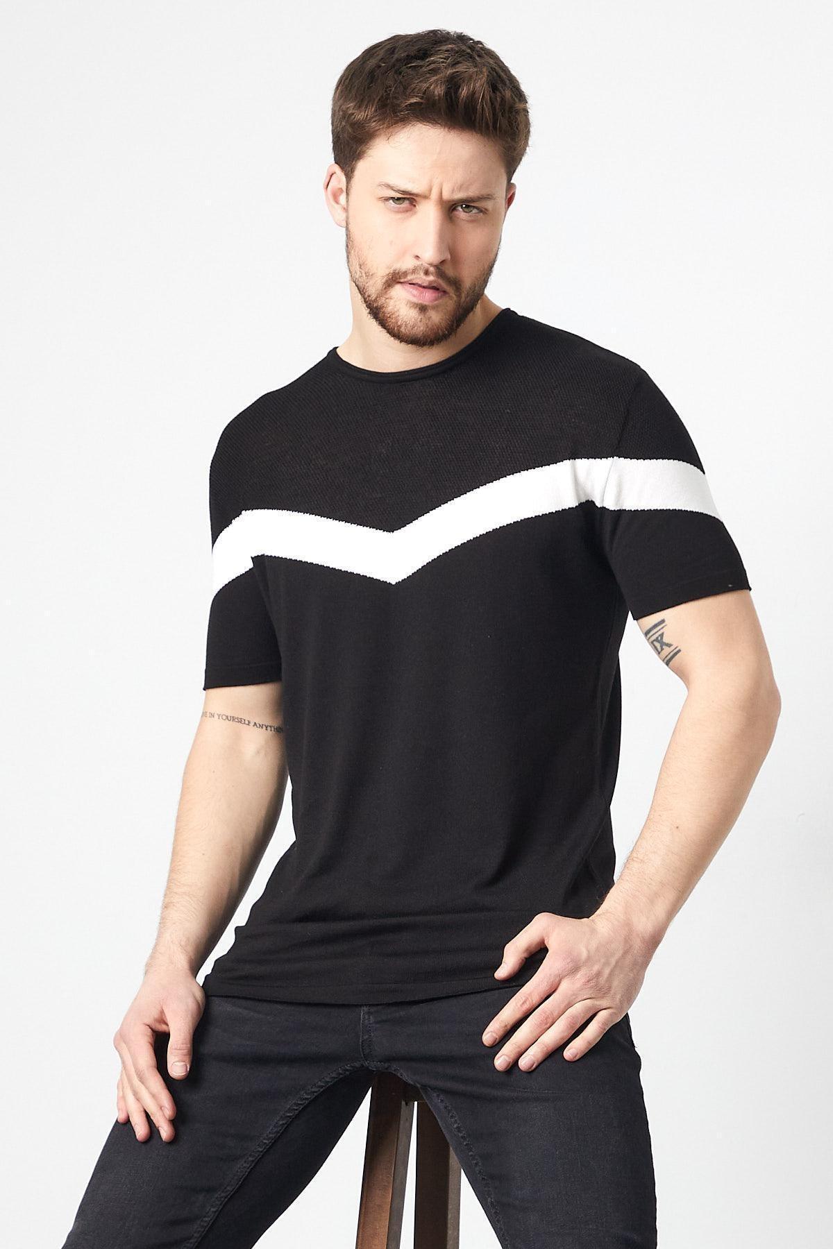 Erkek Slim Fit Pamuklu T-shirt Siyah