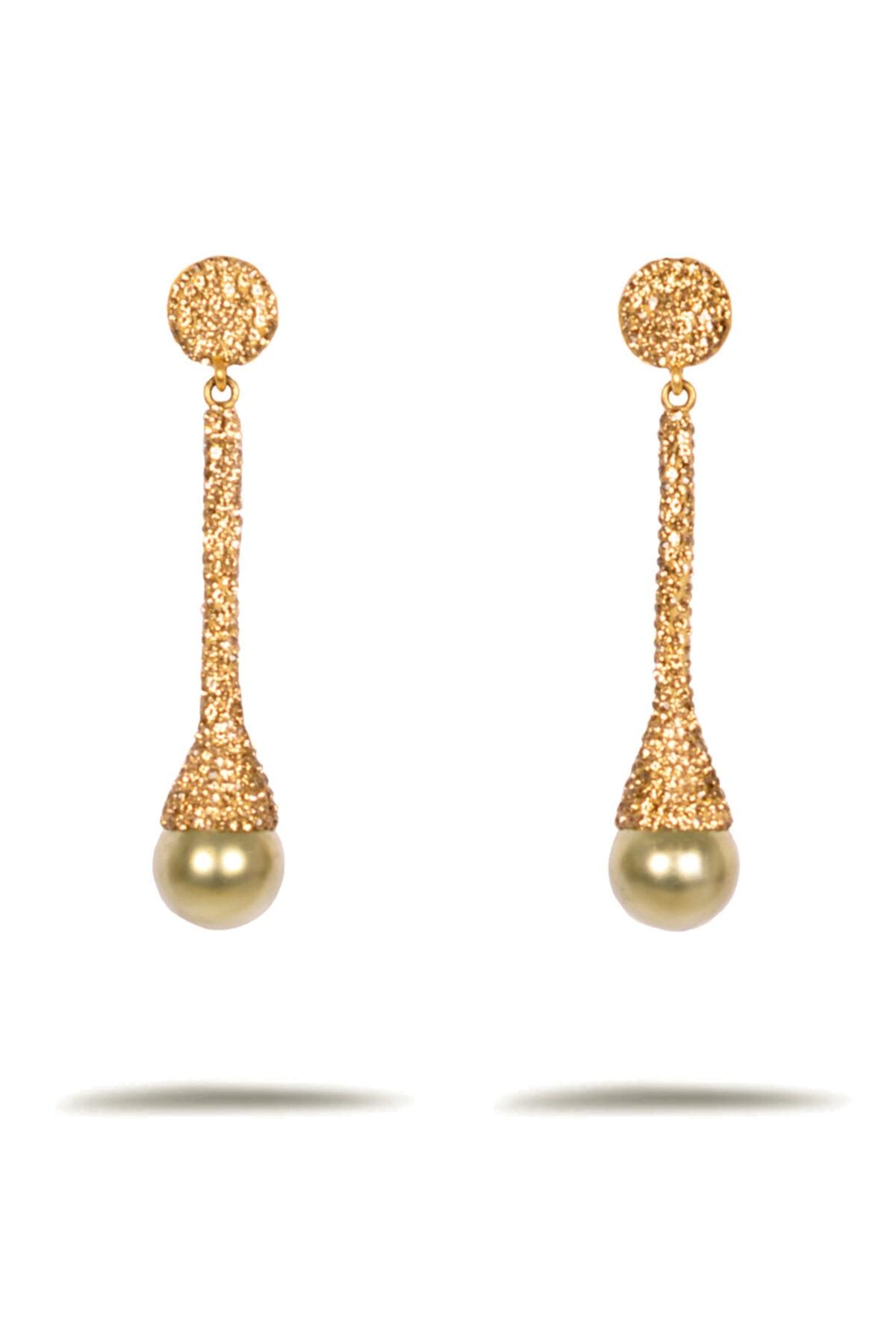 Joven Jewellery Sarı Hematit Taşlı Yeşil Mayorka Incili Gümüş Küpe