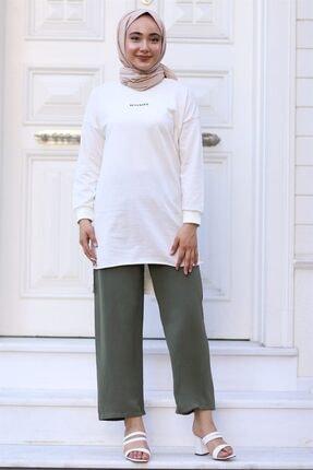Moda Bu Huban Moda Kadın Haki Beli Lastikli Bol Paça Salaş Yazlık Pantolon Aerobin-865829 Aerobin-865829 2