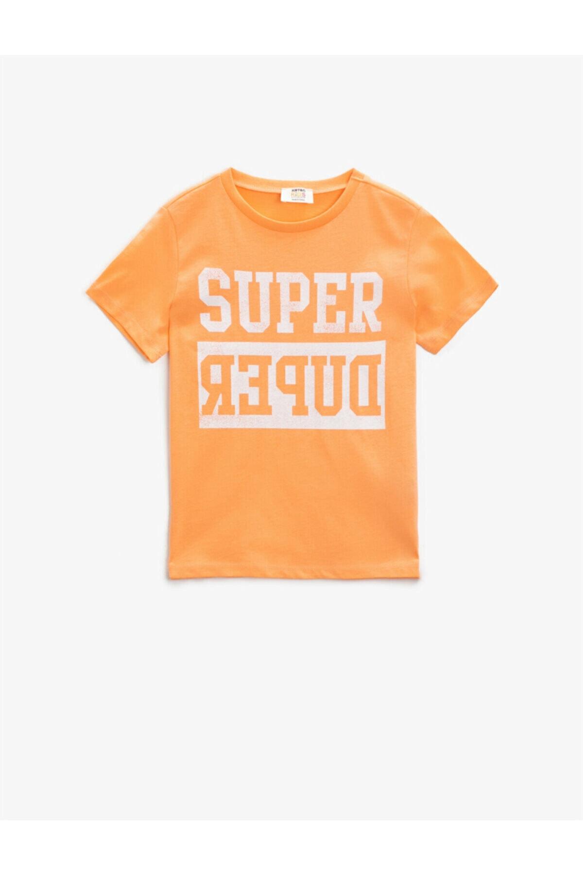 Erkek Çocuk Turuncu Super Baskılı T-Shirt