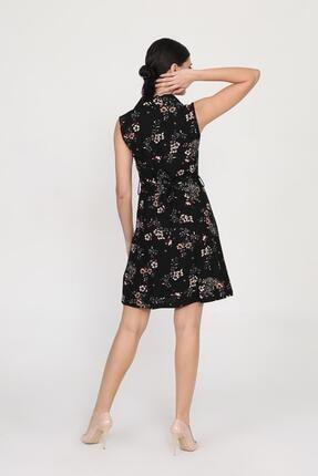 Ceylen Kadın Siyah Önden Düğmeli Desenli Elbise 2