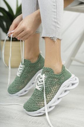 Moda Değirmeni Kadın Su Yeşili Dantelli Sneaker Md1067-101-0001 1