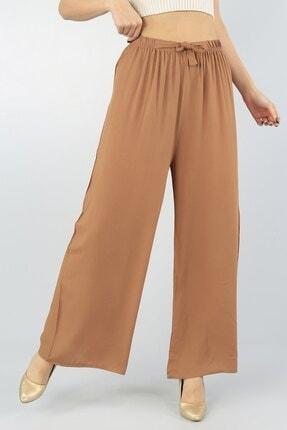 KaSheHa Kadın Vizon Beli Lastikli Kuşaklı Salaş Dokuma Viskon Pantolon 1