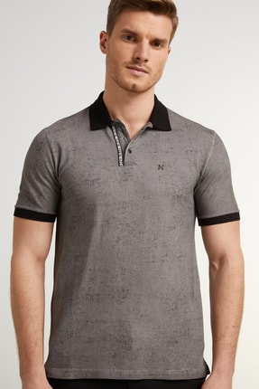 Network Erkek Slim Fit Antrasit Polo Yaka Logolu T-shirt 1078383 2