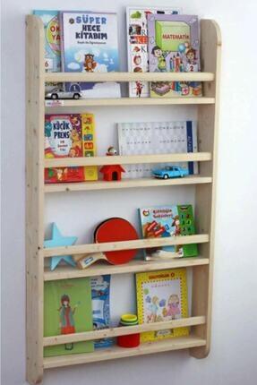 Miço Kids Montessori Çocuk Odası Eğitici Kitaplık Ahşap Duvara Monte 4 Raflı 1