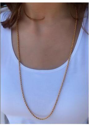 Serpil Jewellery Kadın Altın Sarısı Uzun Çelik Burgu Zincir 0