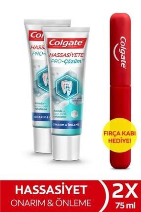 Colgate Hassasiyete Pro Çözüm Onarım ve Önleme Diş Macunu 75 ml x 2 Adet + Fırça Kabı Hediye 0